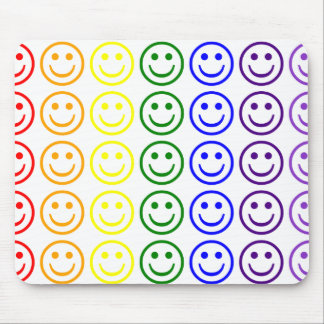 Add Text & Images Gifts: Rainbow Smiley Faces Mouse Pad