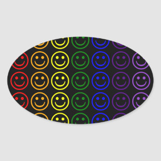 Add Text & Images Gifts: Rainbow Smiley Faces Oval Sticker