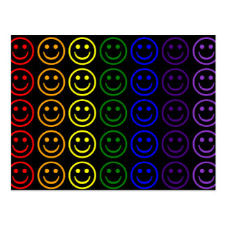 Add Text & Images Gifts: Rainbow Smiley Faces Post Card