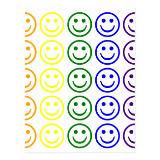 Add Text & Images Gifts: Rainbow Smiley Faces Postcard