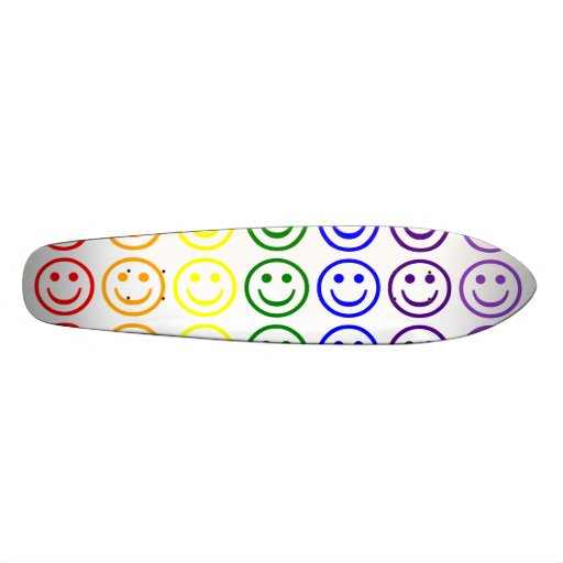 Add Text & Images Gifts: Rainbow Smiley Faces Skate Board