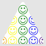 Add Text & Images Gifts: Rainbow Smiley Faces Triangle Stickers