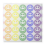 Add Text & Images Gifts: Rainbow Smiley Faces Ceramic Tile