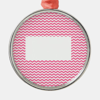 add text or image to this pink chevron metal ornament
