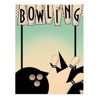 ADD TEXT Vintage Retro Bowling Bowl Night Event Postcard