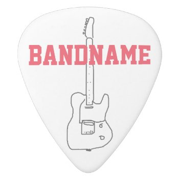 Add The Name Of The Band White Delrin Guitar Pick by mixedworld at Zazzle
