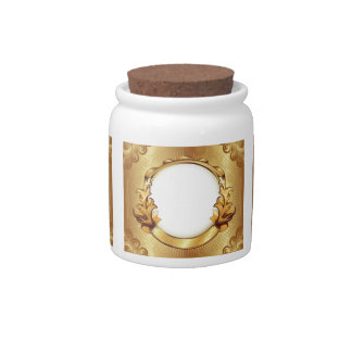 Add Three Photos! Elegant Gold Fancy Picture Frame Candy Jars