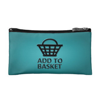 Add to basket concept. cosmetic bag