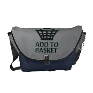 Add to basket concept. messenger bag