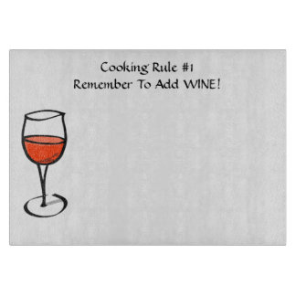 Add Wine Cooking Rule Number One Humorous Cutting Board