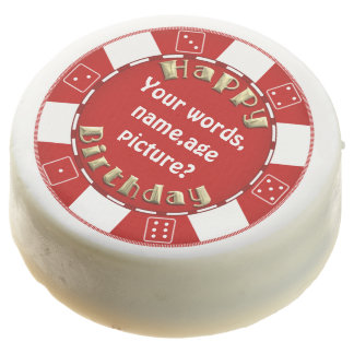 Add words Birthday poker chip dipped oreo cookies