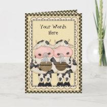 Add Words Coffee Cow greeting card