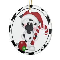 add words or picture cow Christmas ornament