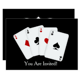 add words playing card party invitation
