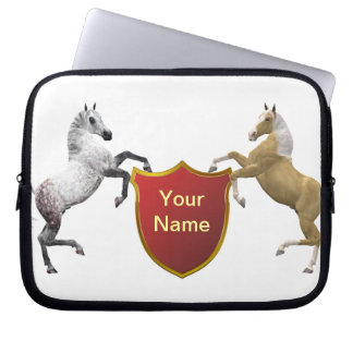 Add you name to the shield held by rearing horses laptop sleeves