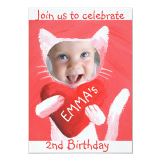 add your baby girl's photo cute 2nd birthday card
