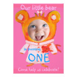 add your baby girl's photo cute funny 1st birthday personalized announcement