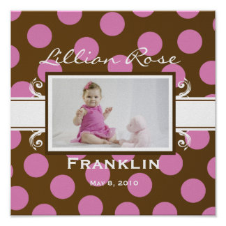 Add Your Baby Pink and Brown Polka Dot Poster