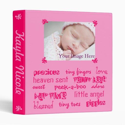 Add Your Baby's Info Pink Girls Baby Book Vinyl Binders