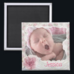 """Add your baby&#39;s photo, Pretty Pink Lacy Magnet<br><div class=""""desc"""">Personalize this magnet by adding your baby&#39;s picture to this adorable pink shabby chic styled refrigerator magnet.  Great gift for grandmas,  aunts,  new moms or God parents.</div>"""