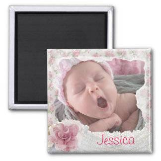 Add your baby's photo, Pretty Pink Lacy Magnet