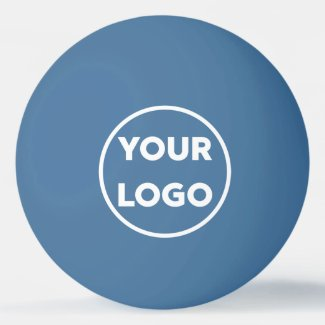 Add Your Business Company Logo Branded Blue Ping Pong Ball