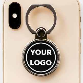 Add Your Business Company Logo on Black Phone Ring Stand