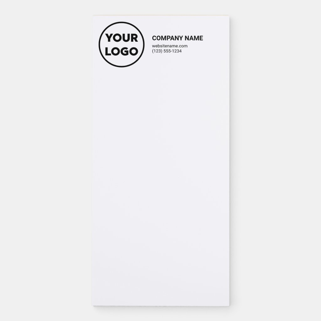 Add Your Business Logo Company Name Contact Info Magnetic Notepad