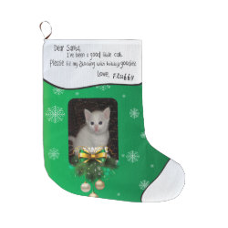 ADD YOUR CAT PHOTO Green Cute Holiday Stocking Large Christmas Stocking
