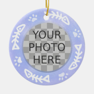 Add Your Cat's Photo: Fish and Pawprints Double-Sided Ceramic Round Christmas Ornament