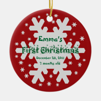 Add Your Child's Name Baby's 1st Christmas Ornamen Ceramic Ornament