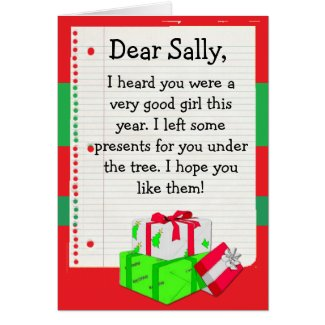 "Add your Child's Name to this ""Dear Santa"" Card"