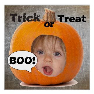 Add your Child's Photo to Funny Pumpkin Poster
