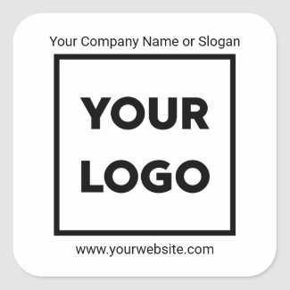 Add Your Company Logo, Business Website and Slogan Square Sticker