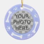 Add Your Dog's Photo: Bones and Pawprints Christmas Tree Ornament