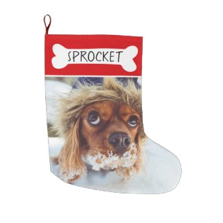 Add Your Dog's Photo Name Personalized Pet Large Christmas Stocking