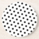Add Your Favorite Color to Black Polka Dots Drink Coaster
