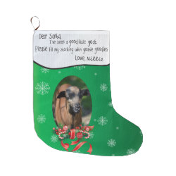 ADD YOUR GOAT Photo and Name Dear Santa Large Christmas Stocking