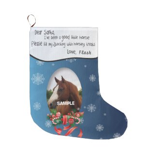 ADD YOUR HORSE Photo and Name Dear Santa Large Christmas Stocking