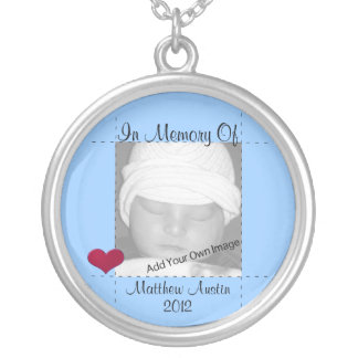 Add Your Info In Memory Of Blue Photo Necklace