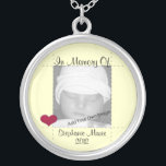 """Add Your Info In Memory Of Yellow Photo Necklace<br><div class=""""desc"""">If you&#39;ve lost a loved one,  this necklace is a beautiful keepsake to remember them by and keep near your heart.  Personalize with their photo,  name and year born or deceased. Necklace design features a red heart and pastel yellow background surrounding your custom information and photo.</div>"""