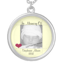 Add Your Info In Memory Of Yellow Photo Necklace