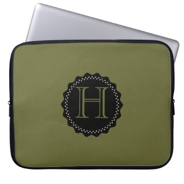 Professional Business ADD YOUR INITIALS! GREEN AND BLACK LAPTOP SLEEVE