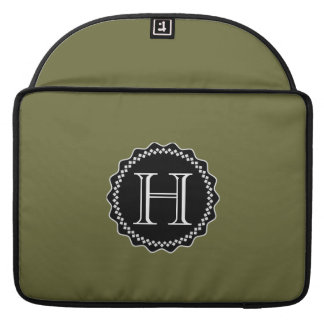 ADD YOUR INITIALS! GREEN AND BLACK MACBOOK SLEEVE
