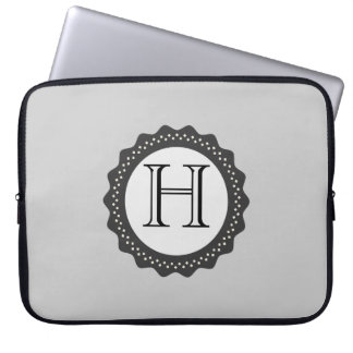 ADD YOUR INITIALS! GREY AND WHITE LAPTOP SLEEVE