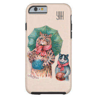 Add Your Initials Louis Wain Cats and Umbrellas Tough iPhone 6 Case