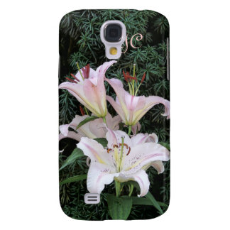 Add Your Initials Pink and White Lily flowers Galaxy S4 Cases
