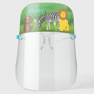 Add Your Kids Name / Cute Zoo Animal Safety Face Shield