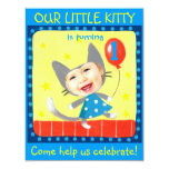 add your kids photo cute girly 1st birthday kitty 4.25x5.5 paper invitation card