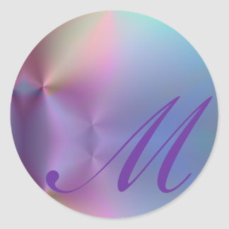 Add your letter - colorful monogram classic round sticker